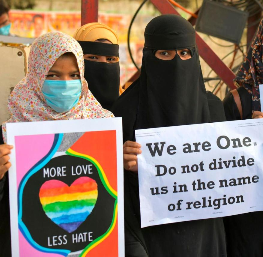 """Bangalore, early December: Women protest against the """"Love Jihad"""" law"""