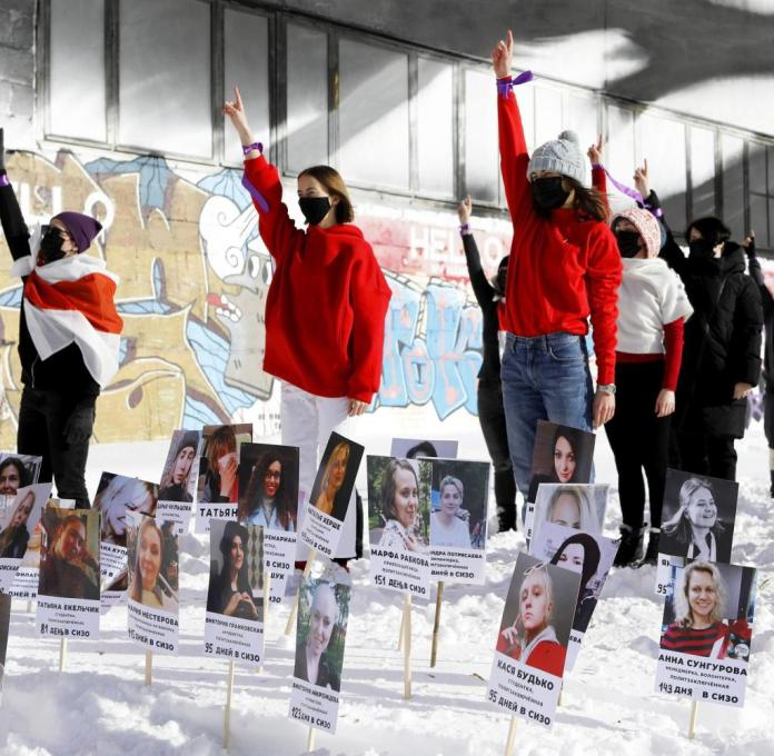 Flash mob for freedom: Feminist activists campaign for political prisoners in Minsk in mid-February.  Their number has continued to rise since then