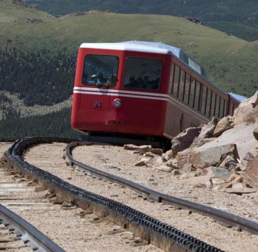 Colorado: The Manitou and Pike's Peak Railway takes tourists up to over 4,300 meters