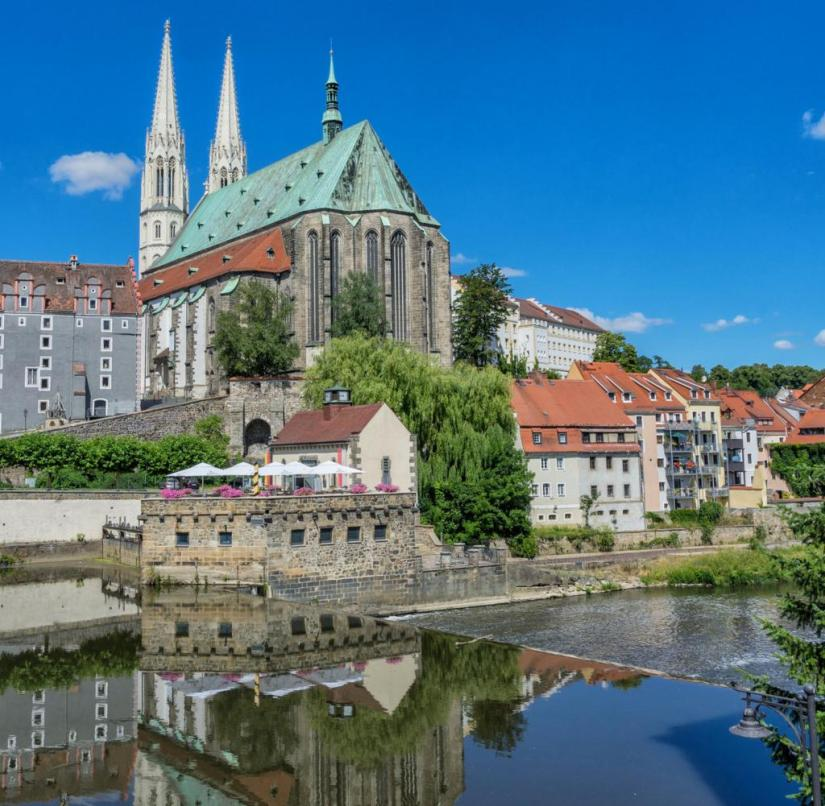 Saxony: View over the border river Neisse to the parish church of St. Peter and Paul in Görlitz