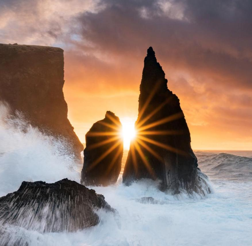 Iceland: The rugged rock needles near Reykjanesta are washed by the roaring Atlantic