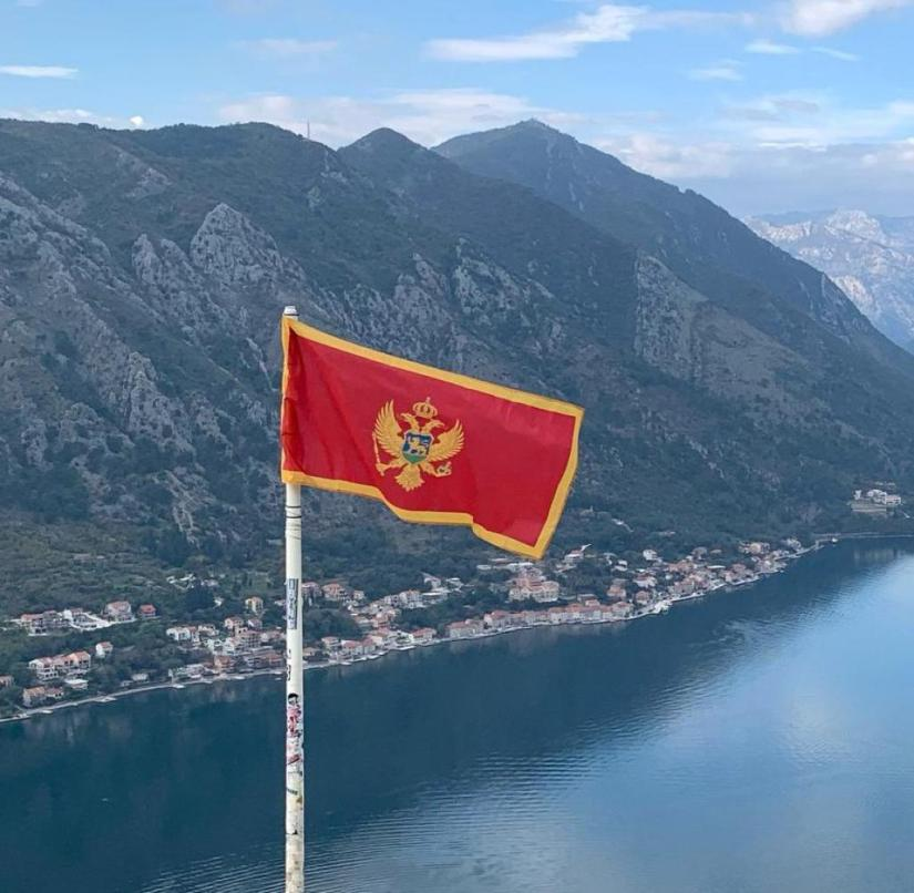 Montenegro: View from the fortress ruins to the Bay of Kotor