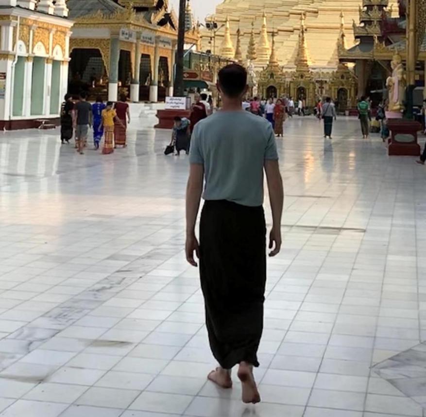 In Burma: Martin Lewicki visiting the Shwedagon Pagoda in Rangoon