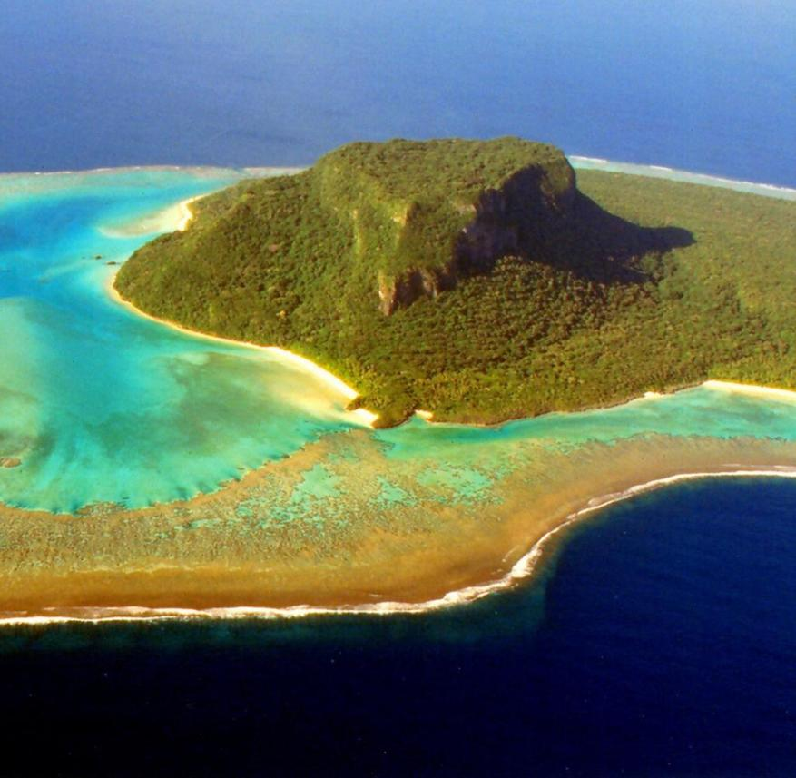 A tropical paradise in the Pacific: the atoll Vatu Vara attracts with coconut palms and coral reef