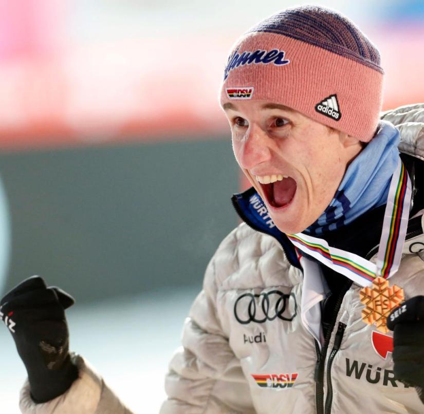 Karl Geiger from Oberstdorf triumphs at the ski flying world championships
