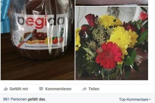 """Auf der Facebook-Seite von Lutz Bachmann ist das """"Pegida""""-Glas zu sehen"""