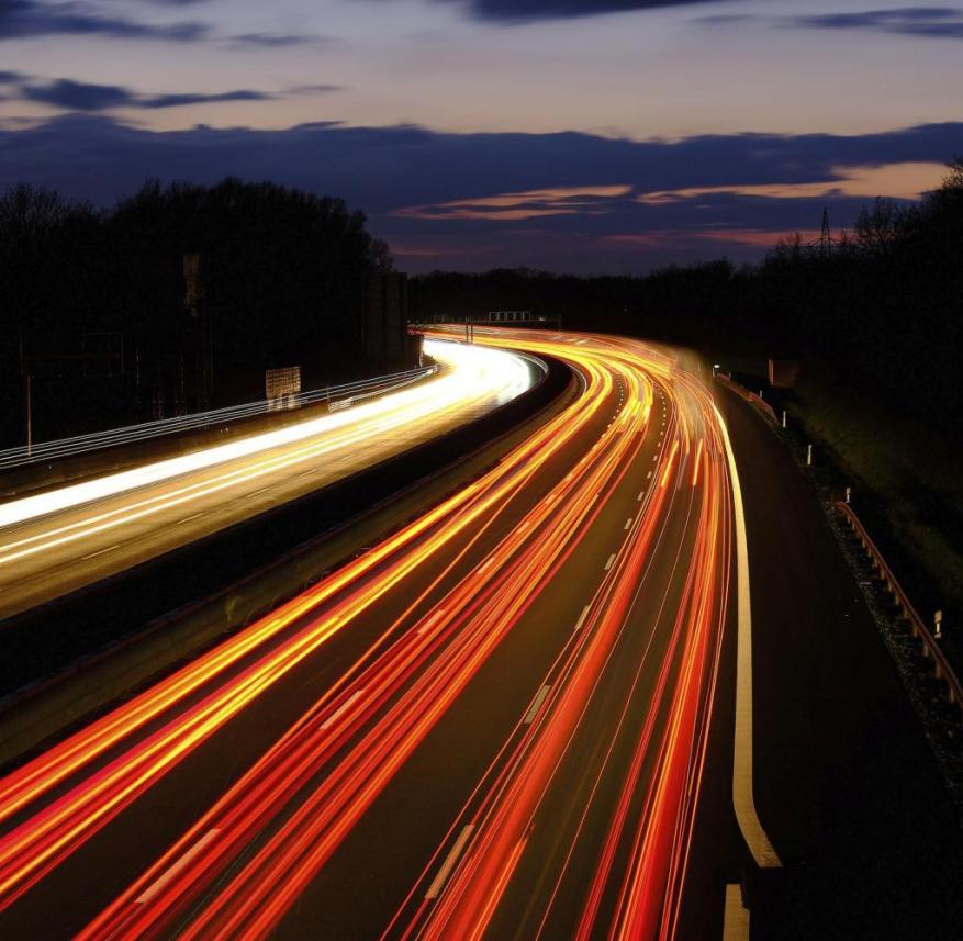 Federal motorway A2 photographed from the motorway bridge Im Heidkampe.  Hanover, March 9th, 2020