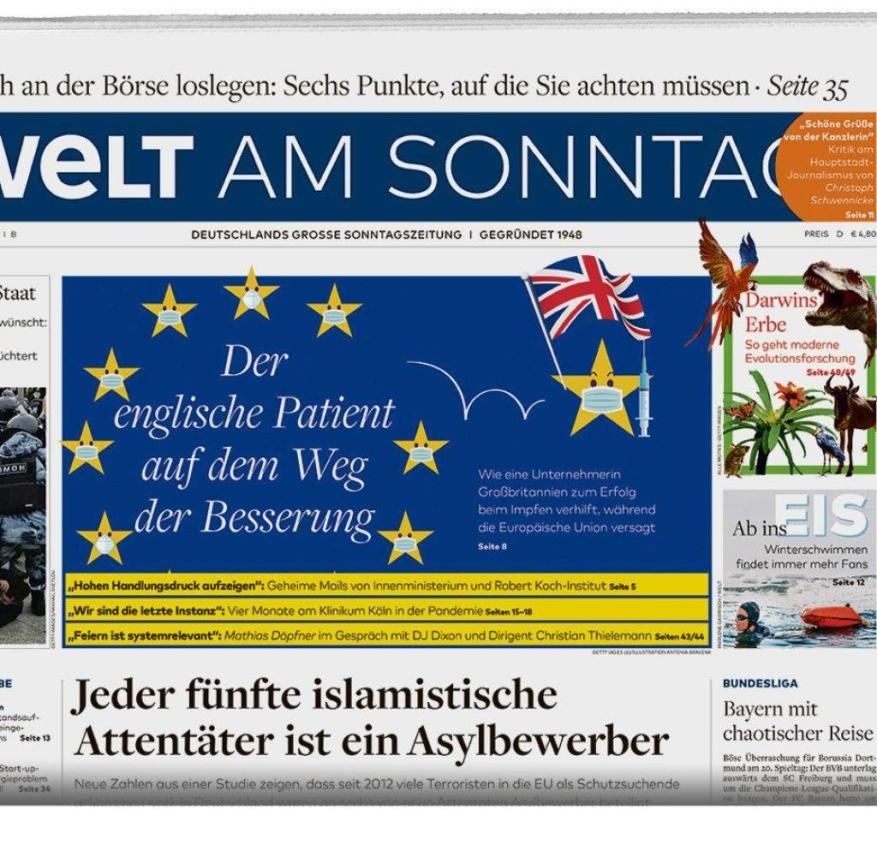 Welt am Sonntag WAMS E day February 7th Packshot half page