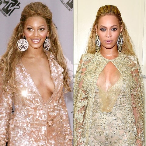 Beyonce in 2003; Beyonce in 2016