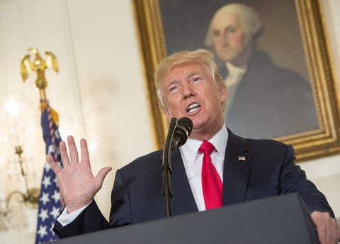 U.S. President Donald Trump makes a statement on the violence this past weekend in Charlottesville, Virginia at the White House on August 14, 2017 in Washington, DC. Heather Heyer, 32, was killed in Charlottesville when a car allegedly driven by James Alex Fields Jr. barreled into a crowd of counter-protesters following violence at the 'Unite the Right' rally. Two Virginia state police troopers were also killed when their helicopter crashed while covering events on the ground.