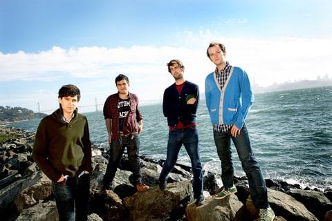 (L-R) Ezra Koenlg, Rostam Batmanglljof, Chris Tomson, Chris Balo of Vampire Weekend pose for a group shot in 2008 in San Francisco, CA