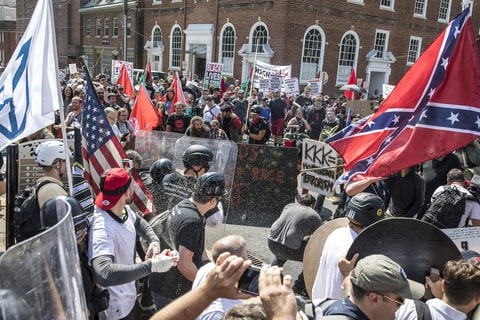White nationalists face off against counter protesters in Charlottesville, Virginia, last weekend.