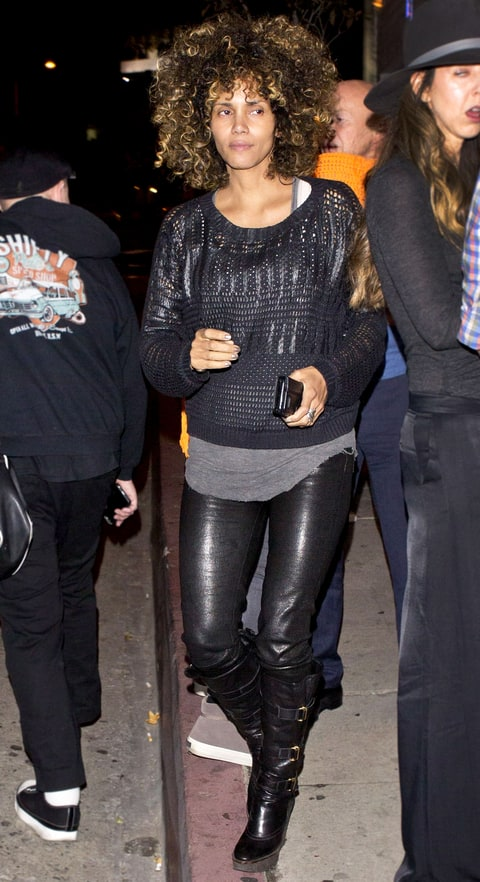 Halle Berry Wears Curly Wig No Makeup Pics Us Weekly