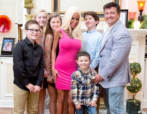 Nannette Hammond, 42, with husband Dave, 47 and children Alex, 10, left, Hannah, 16, second from left, Sofia, 12, third from left, Antonio, five, and Giovanni, 15, right.