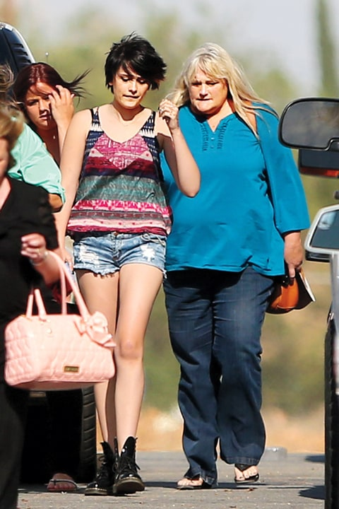 With her mother, Debbie Rowe, who's battling breast cancer, in October. Paris didn't get to know Rowe until after Michael's death.