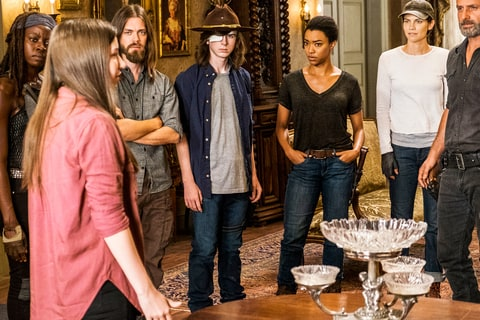Katelyn Nacon as Enid, Danai Gurira as Michonne, Tom Payne as Paul 'Jesus' Rovia, Chandler Riggs as Carl Grimes, Sonequa Martin-Green as Sasha Williams, Lauren Cohan as Maggie Greene, Andrew Lincoln as Rick Grimes - The Walking Dead
