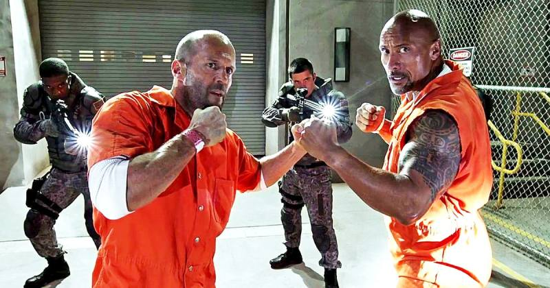 Jason Statham as Deckard Shaw and Dwayne Johnson as Luke Hobbs in The Fate of the Furious