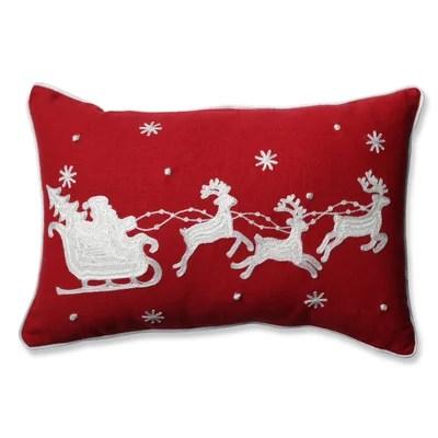 Santa Sleigh and Reindeer Lumbar Pillow