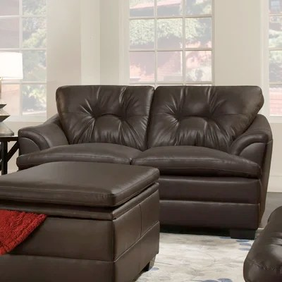simmons manhattan sectional sofa reviews baxton studio callidora brown leather with left facing chaise upholstery 6491-03 sassy barley ...