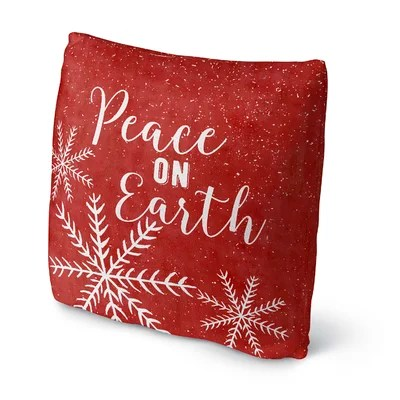 'Snowing Peace on Earth Outdoor Throw Pillow