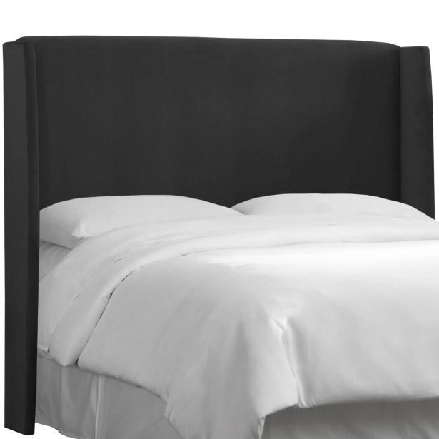 Wingback Upholstered Headboard Size: Full, Color: Black
