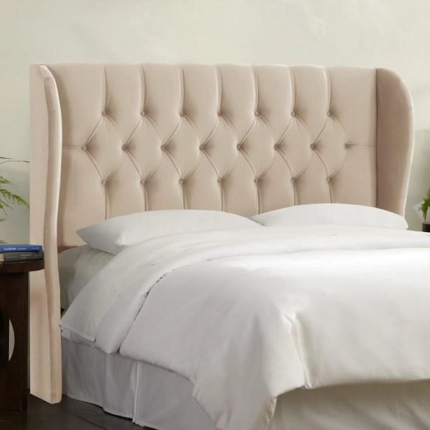 Tufted Upholstered Wingback Headboard Size: Full, Upholstery: Buckwheat