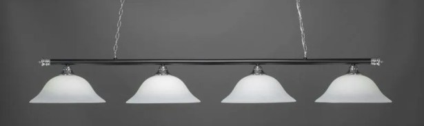 Mendez 4-Light Billiard Pendant Base Finish: Chrome/Matte Black, Shade Color: White