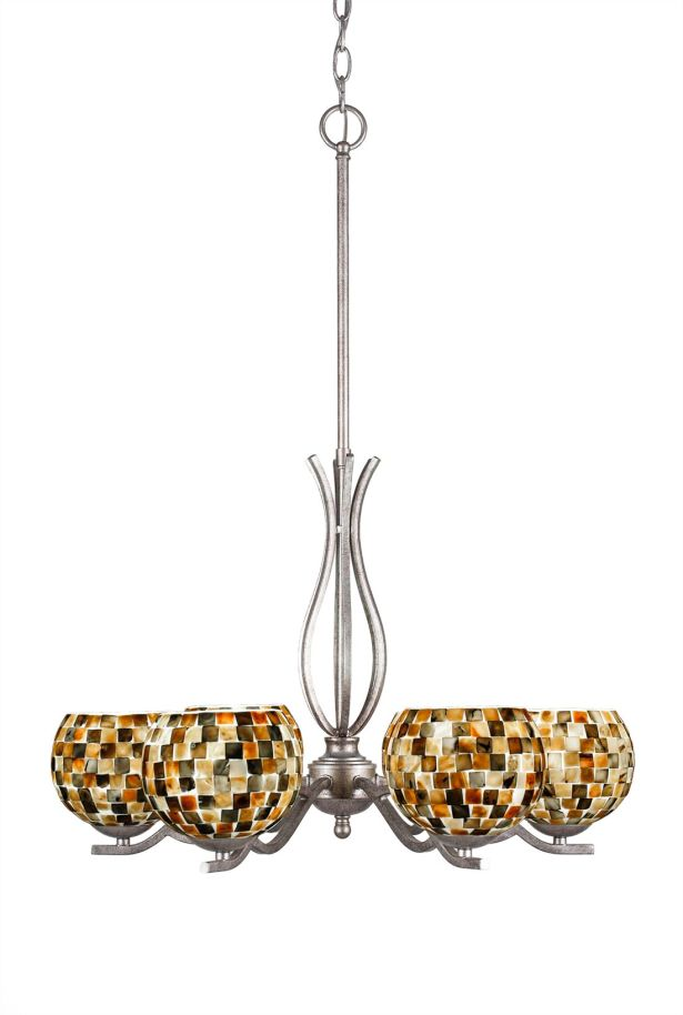 Hiroko 6-Light Shaded Chandelier Finish: Aged Silver
