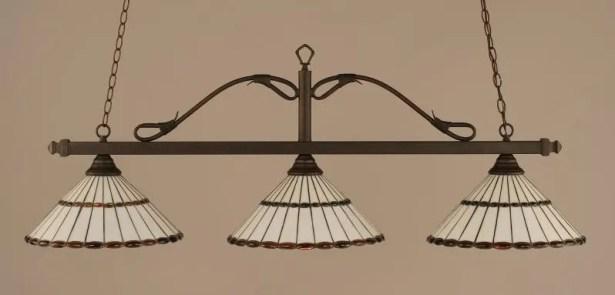Naquin 3-Light Wrought Iron Rope Kitchen Island Pendant Finish: Bronze