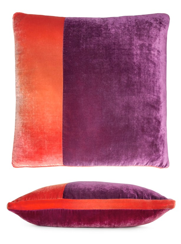Color Block Velvet Pillow Color: Raspberry