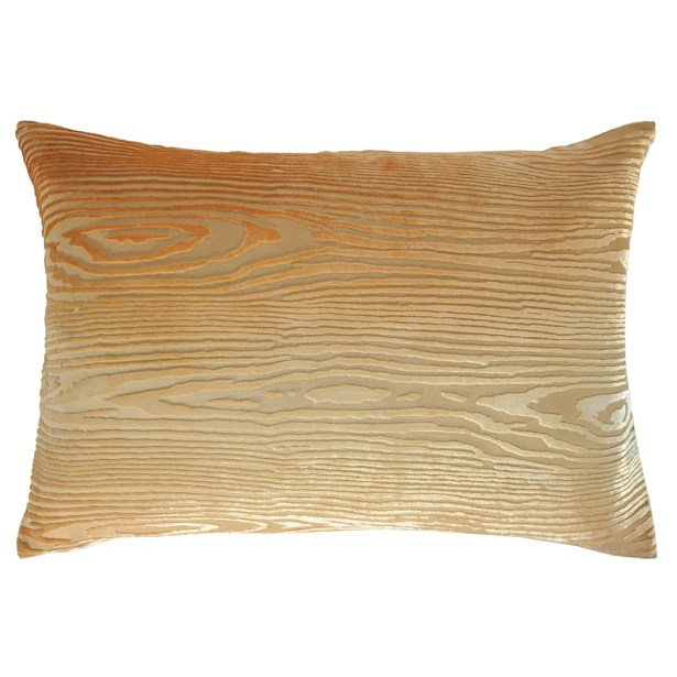 Woodgrain Velvet Lumbar Pillow Color: Gold/Beige, Size: 14'' H x 20'' W x 3'' D