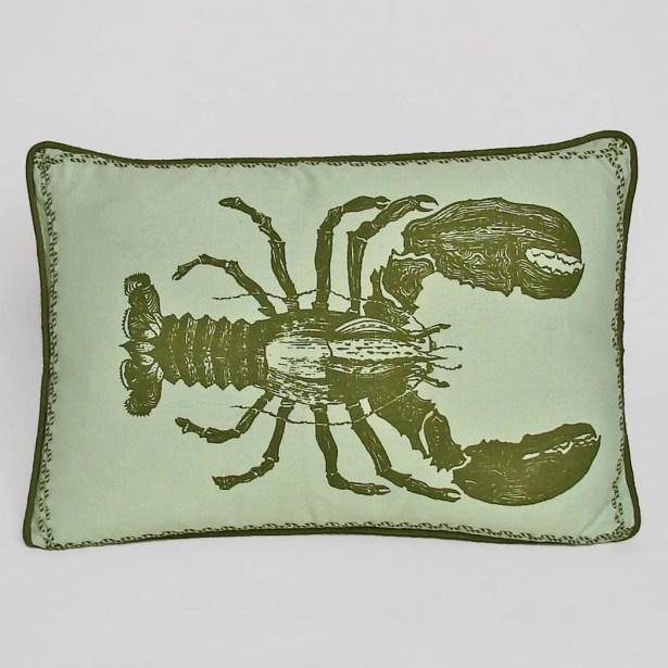 Nauticals Lobster Lumbar Pillow Color: Sea Glass