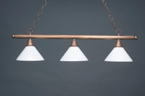 Pendant Three Medium Base Sockets Hanging Pendant Finish: Verdi Gris, Glass Type: 50W White