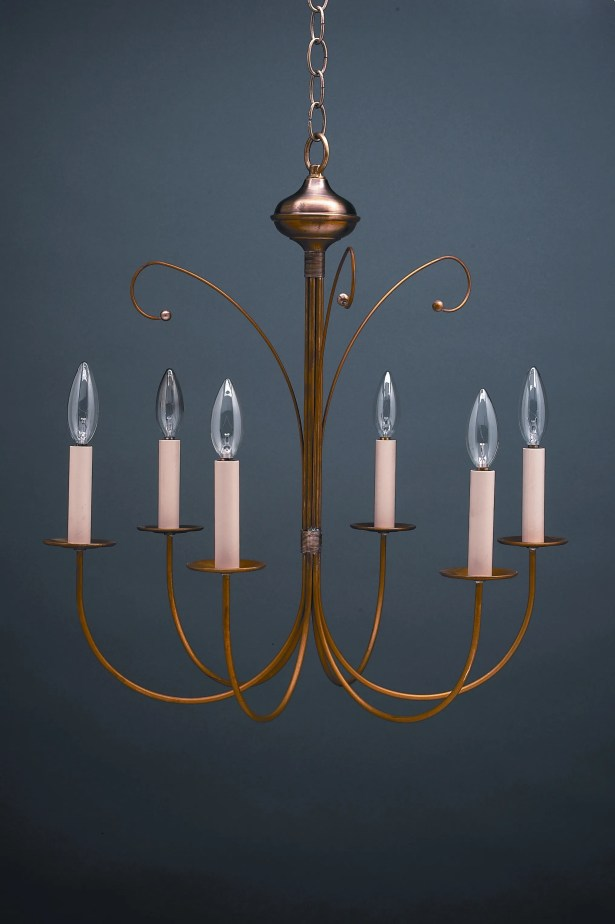 Sockets J-Arms Hanging 6-Light Chandelier Finish: Raw Brass