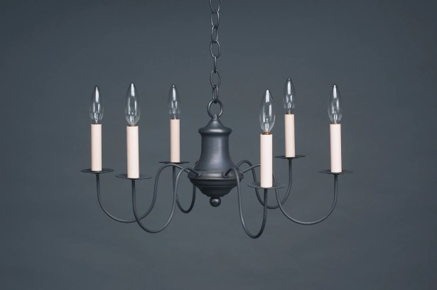 Sockets S-Arms Hanging 6-Light Chandelier Finish: Dark Antique Brass