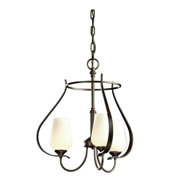 Flora 3-Light Shaded Chandelier Glass Type: Seeded Clear Glass, Finish: Bronze