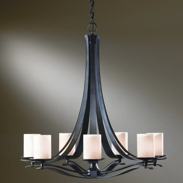 Berceau 7-Light Shaded Chandelier Finish: Dark Smoke, Shade Color: Stone, Bulb Type: (7) 60W candelabra base bulbs