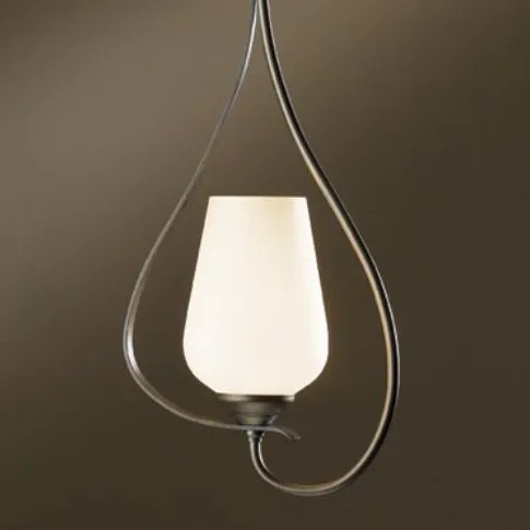 Flora 1-Light Urn Pendant Glass: Seeded Clear, Finish: Opaque Natural Iron