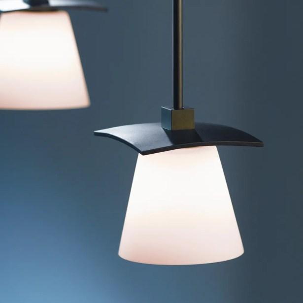 Wren 1-Light Cone Pendant Glass: Clear with Opal Diffuser, Finish: Translucent Dark Smoke