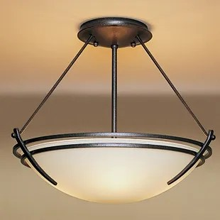 Presidio Medium 2-Light Semi Flush Mount Finish: Natural lron, Shade Color: Opal, Bulb Type: (2) 100W A-19 medium base bulbs