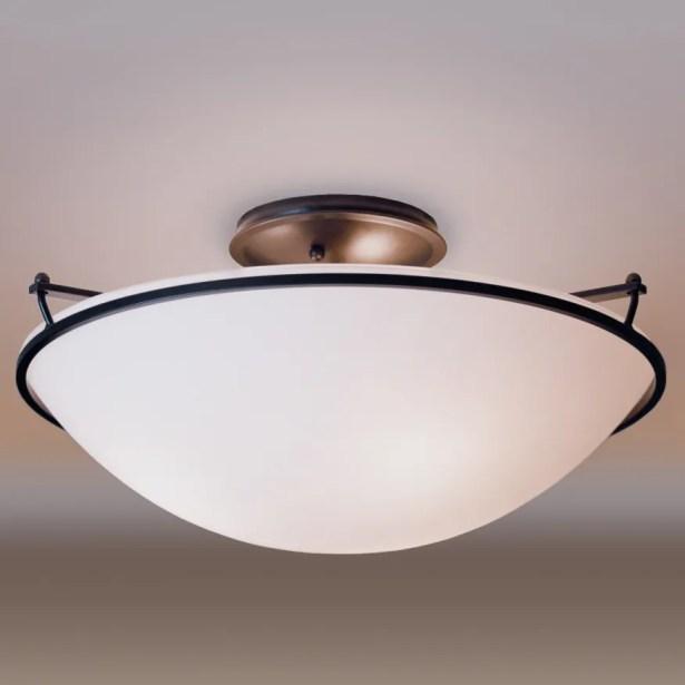 3-Light Semi Flush Mount Finish: Bronze, Shade Color: Sand, Bulb Type: (3) 100W fluorescent bulbs