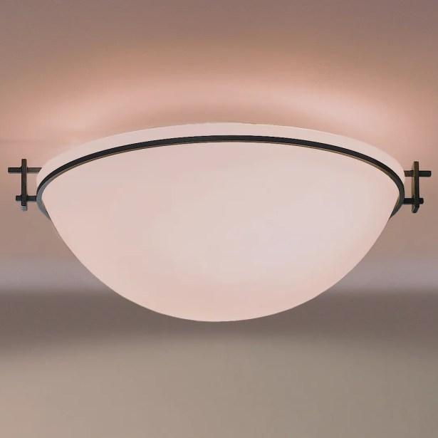 Moonband Large 3-Light Flush Mount Finish: Black, Shade Color: Opal