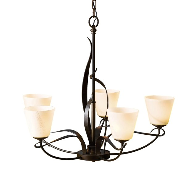 Flora 5-Light Shaded Chandelier Glass Type: Stone Glass Dome, Finish: Natural Iron