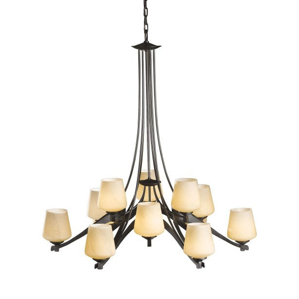 Ribbon 12-Light Shaded Chandelier Finish: Brushed Steel, Shade Color: Pearl, Bulb Type: (12) 75W A-19 medium base bulbs