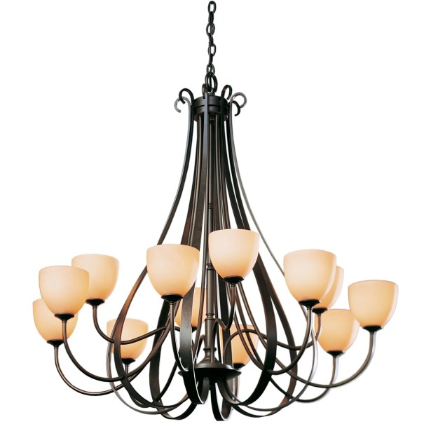 12-Light Shaded Chandelier Finish: Brushed Steel, Shade Color: Pearl