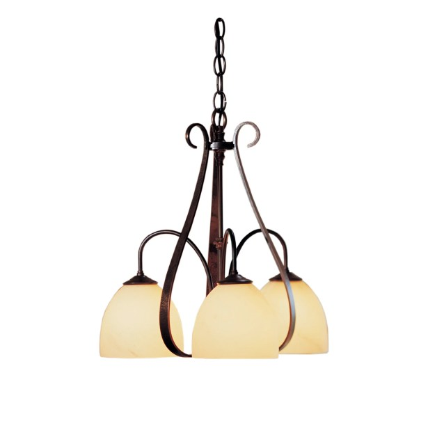 3-Light Shaded Chandelier Finish: Bronze, Shade Shape: Dome, Shade Color: Opal