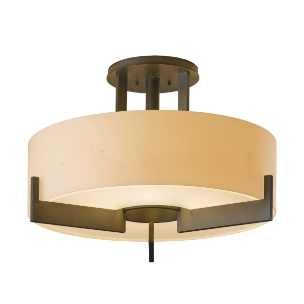 Axis Medium 3-Light Semi Flush Mount Finish: Black, Shade Color: Stone, Bulb Type: (3) 100W fluorescent bulbs