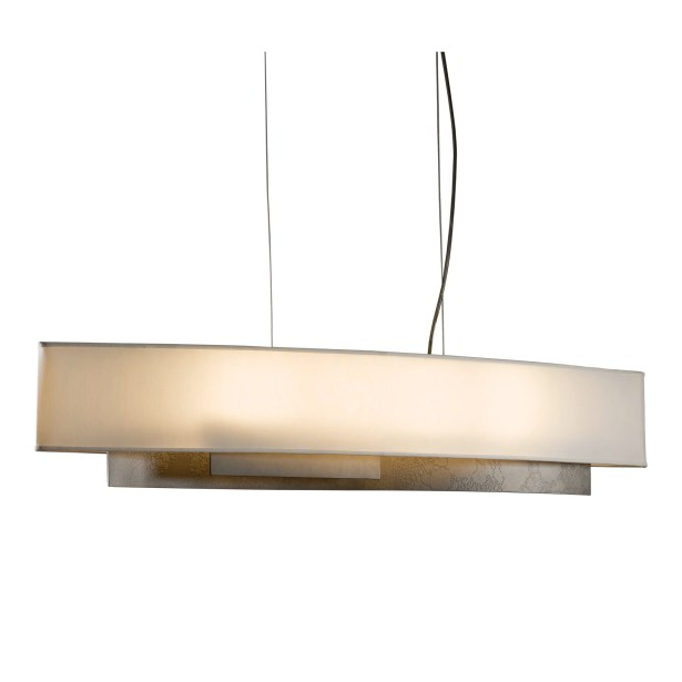 Current 4-Light Pendant Shade: Terra Micro-Suede, Finish: Translucent Burnished Steel