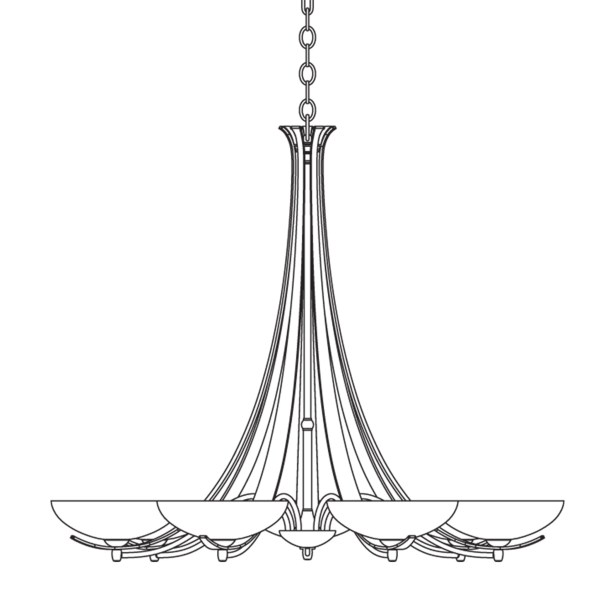 7-Light Shaded Chandelier Finish: Bronze, Shade Color: Stone