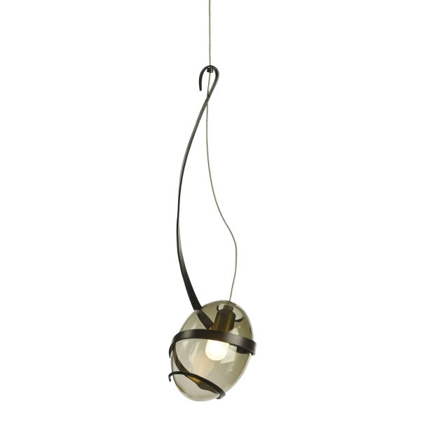 Pinot 1-Light Globe Pendant Shade Color: Cool Gray, Finish: Burnished Steel